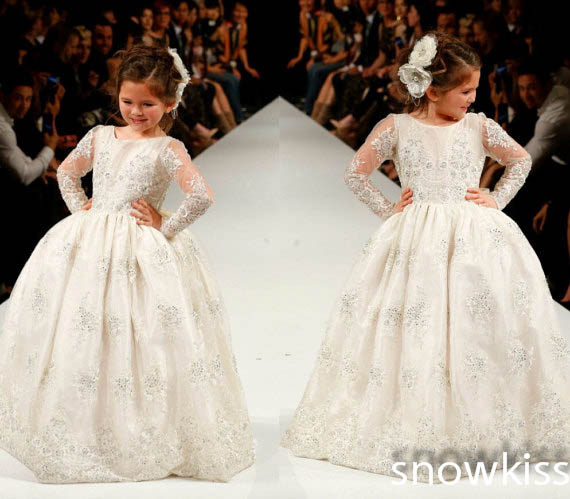 Long sheer full sleeves lace holy the first communion gown ball gowns flower girl dress wedding birthday parties dresses custom nice sheer short lace sleeve boat neckline ball gowns long pleated appliques wedding birthday party flower girl dresses