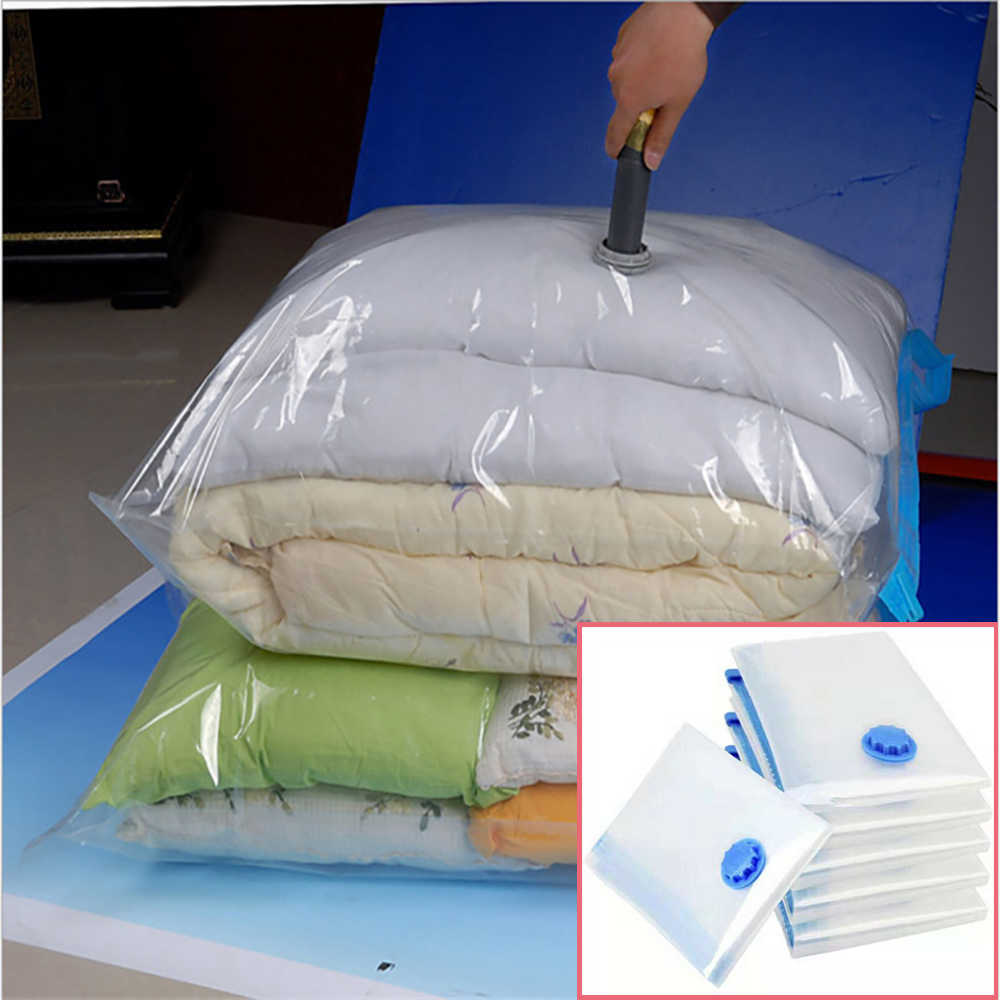 Vacuum Storage Compression Bag for Clothes Home Organizer Transparent Border Foldable Clothes Organizer Bags Clothing