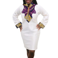 Women African Dress Custom Made Dashiki Print Clothes Wax And White Cotton Patchwork African Festive Dress
