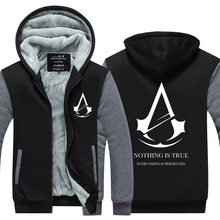 2016 New Winter Fashion White pattern Assassin Creed Hoodie Zipper Sweatshirt Ticken Cool Hoodies Men  USA EU size Plus size