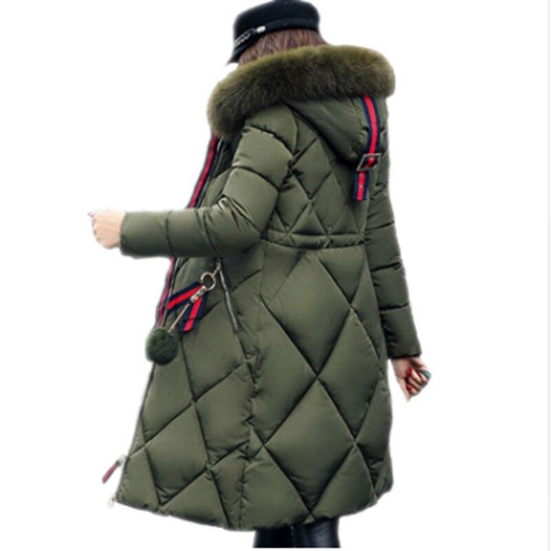 Big fur winter coat thickened   parka   women stitching slim long winter coat down cotton ladies down   parka   down jacket women ZL824