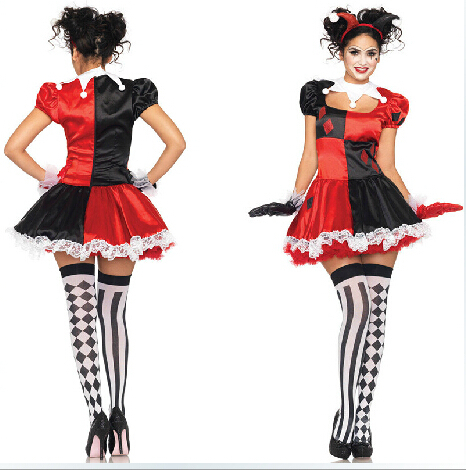 Free Shipping Harley Quinn Costume Fantasia Halloween Fantasias Women Harley Quinn