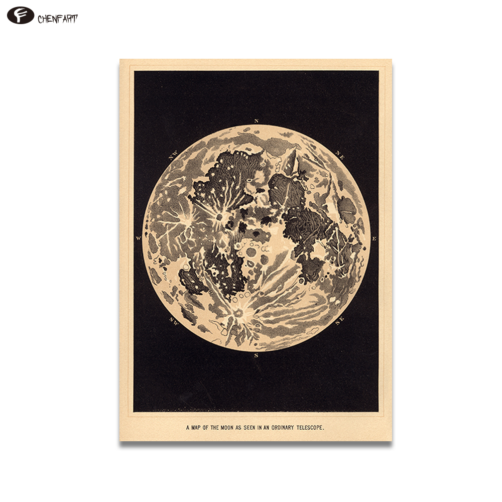 CHENFART Canvas Prints Vintage Moon Art Print Poster of the Moon Home Decor Decorative Pictures no Framed