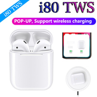 i80 TWS Pop Up 1:1 Size Wireless Bluetooth Earphone Wireless Charging Bass Earphones PK LK TE9 i40 i60 i30 i20 i12 i10 TWS