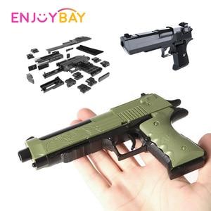 Enjoybay 45pcs Educational Assembly Toys DIY Toy Gun Desert Eagle Building Blocks Toys Birthday Chirstmas Gifts for Children