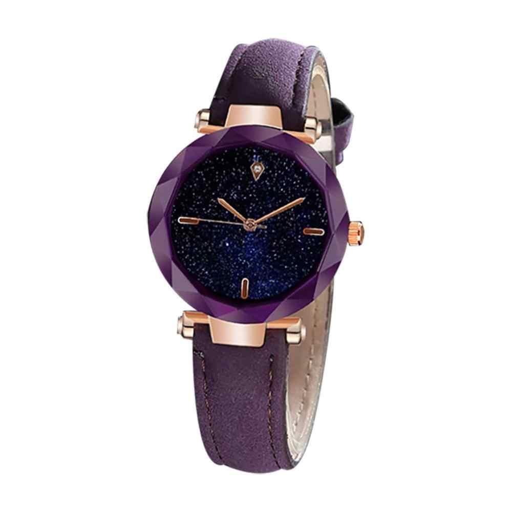 יוקרה נשים שעונים שמי זרועי הכוכבים סדיר חיוג גבירותיי אופנה קוורץ שעוני יד רצועת עור שעון מקרית Reloj Mujer @ 50