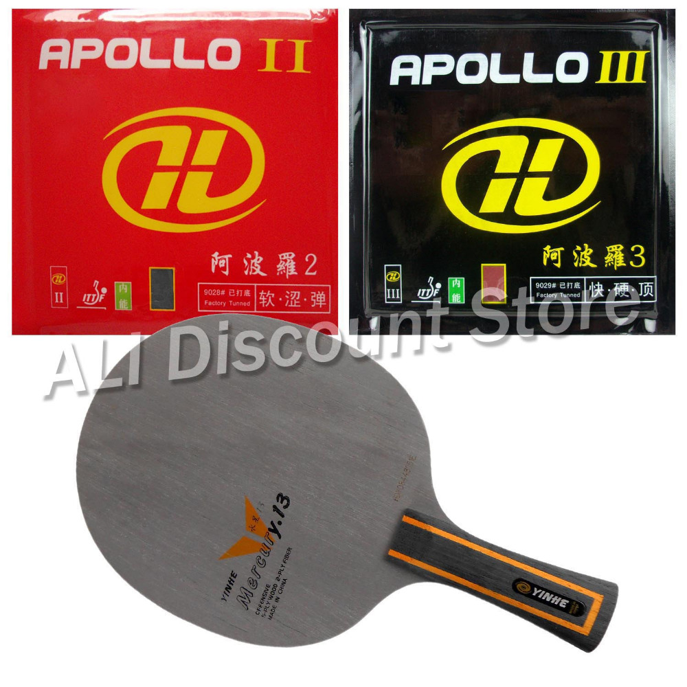 Galaxy YINHE Mercury.13 Blade with Apollo II and Apollo III Rubbers for a Table Tennis Combo Racket FL galaxy yinhe t8s table tennis blade with 2x mercury ii rubber with sponge for a ping pong racket best control indoor sports