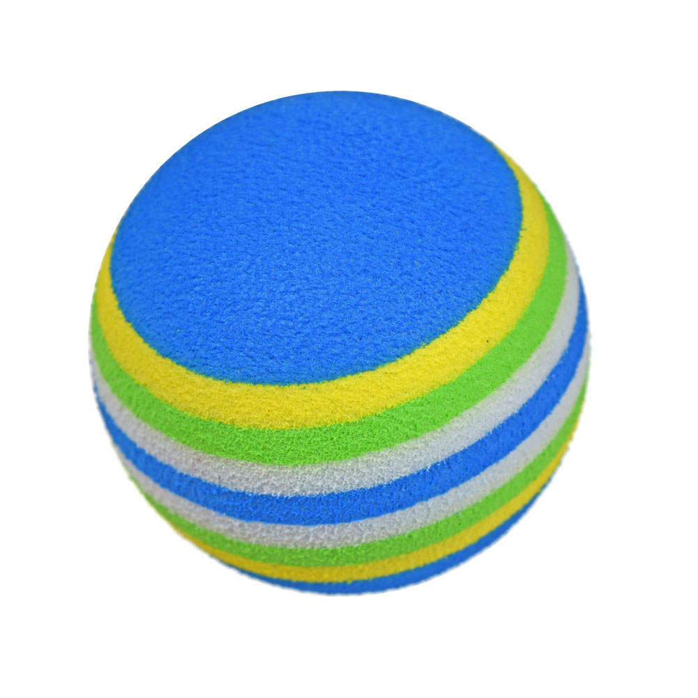 10pcs Toys Outdoor Rainbow Stripe Durable Indoor Sports 42mm Training Aids Golf Ball Soft Sponge Elastic Swing