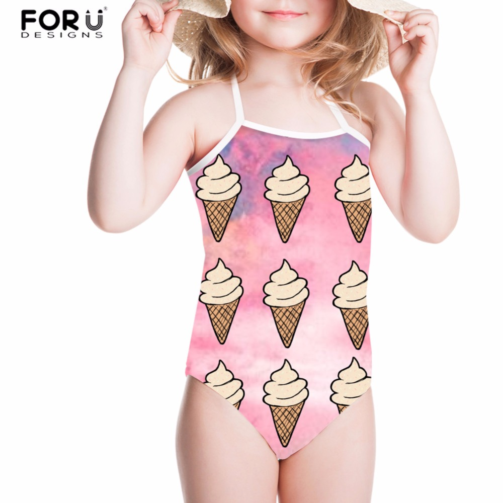 FORUDESIGNS Chidren Swimsuit Bikini Girls Swimwear Colorful Ice Cream Printing One Piece Bathsuit Kids Swimming Suit Beachwear