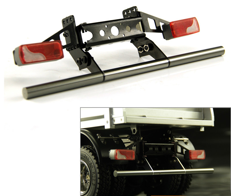 1Set 1 14 Tamiya Tractor Rear Bumper Simulation Anti collision Bar with LED Taillight Cup for
