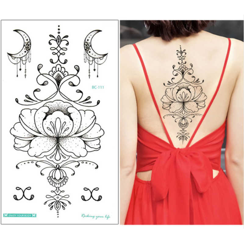 1 Sheet Chest Sternum Tattoos Flash Tattoo Large Flower Moon Earrings Flowers Shoulder Arm Henna Body Art Make Up Under Breast Aliexpress