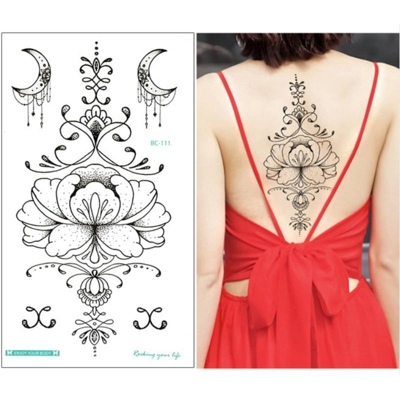 1 Sheet Chest Sternum Tattoos Flash Tattoo Large Flower Moon Earrings Flowers Shoulder Arm  Henna Body Art Make Up Under Breast