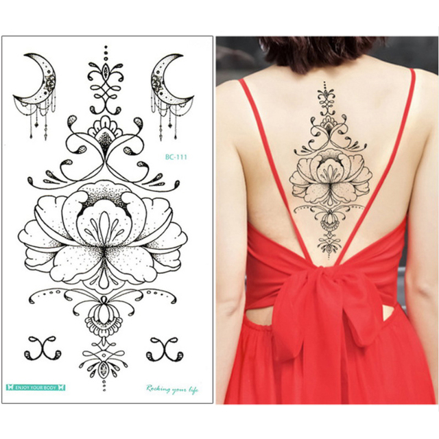 e814cb74a 1 sheet Chest Sternum tattoos Flash Tattoo large flower moon Earrings  flowers shoulder arm henna body art make up Under breast
