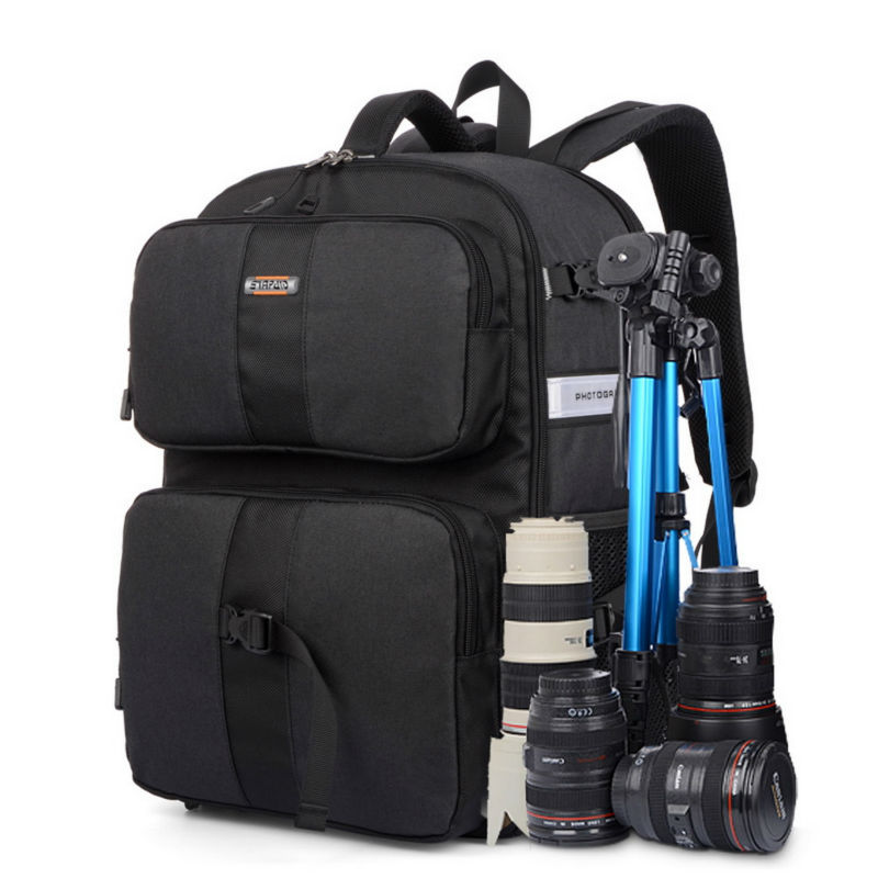 SINPAID Multifunctional DSLR SLR Camera Backpack Large Space Waterproof Photography Accessories Bag Color Black Blue and Orange lowepro protactic 450 aw backpack rain professional slr for two cameras bag shoulder camera bag dslr 15 inch laptop