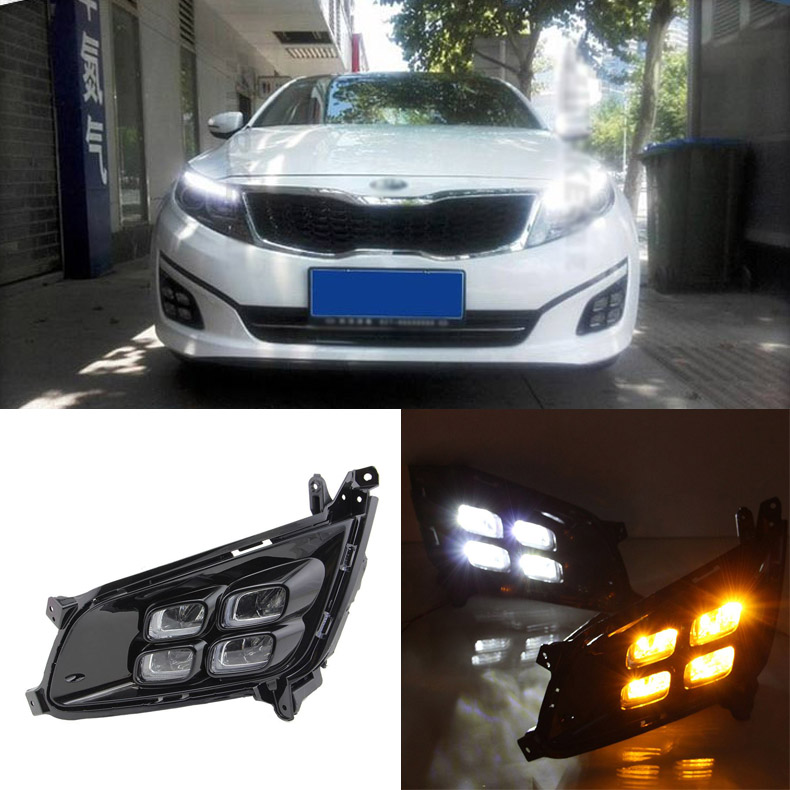 Brand New Updated LED Daytime Running Lights DRL With Black Fog Light Cover For Kia K5 2014 brand new updated led daytime running lights drl with black foglight cover for mitsubishi lancer ex