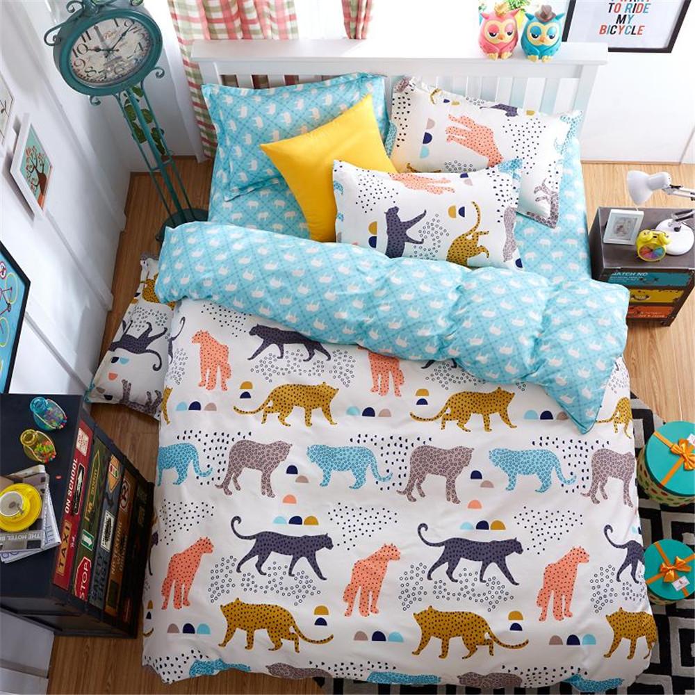 de dibujos animados de polister de colores juegos de cama de leopardo nios