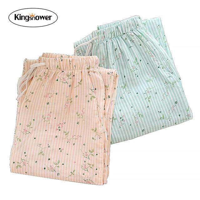 De las mujeres Del Resorte de Doble Pantalones de Pijama de Algodón con Estampado floral de Gasa Suave Equipamiento Del Hogar Casual Pijamas pijamas Botton Z3014