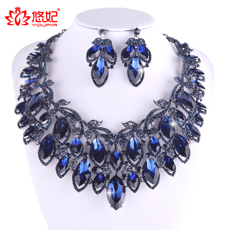 Efficient Fashion Bridal Jewelry Sets Indian Wedding Big Necklace Drop Earrings Set Crystal Montana Color Rhinestone Glass Jewelry Set