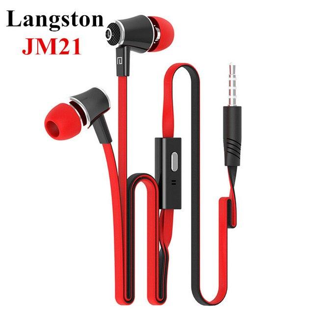 Первоначально Лэнгстон JM21 3.5 ММ свободная Рука Стерео HIFI Бас Наушники MP3 Телефон Наушники + Микрофон для iPhone Samsung Xiaomi