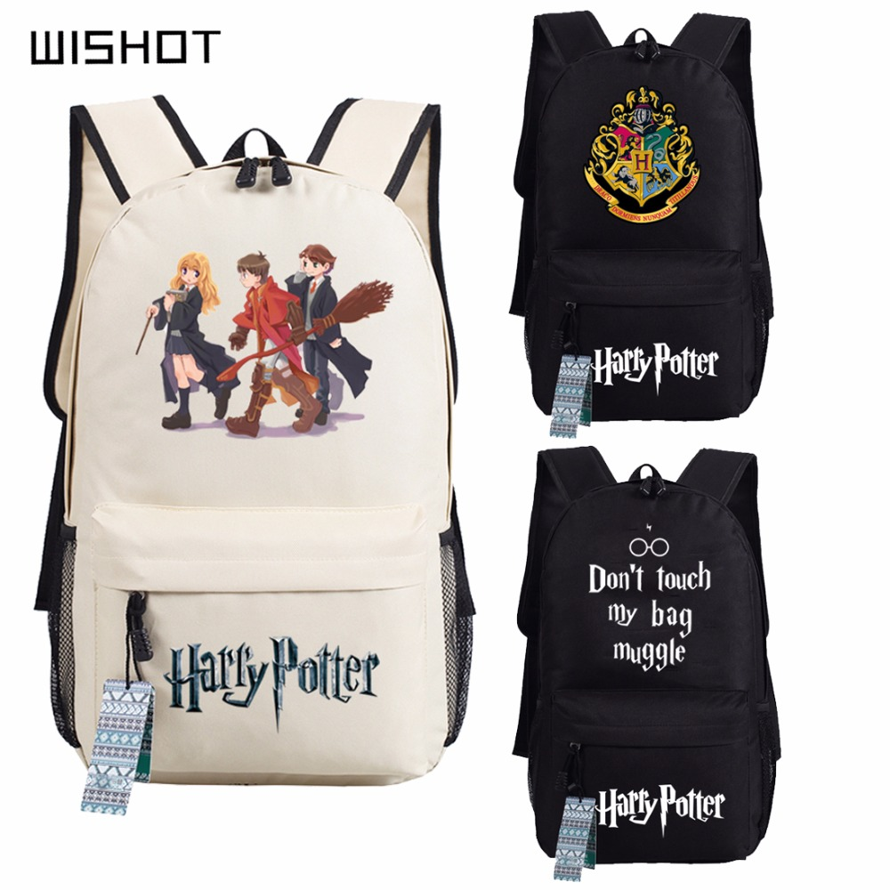 WISHOT Harri Potter Hogwarts Backpack School Bags Book Children Bag Fashion Students Backpack Travel Bag for teenagers