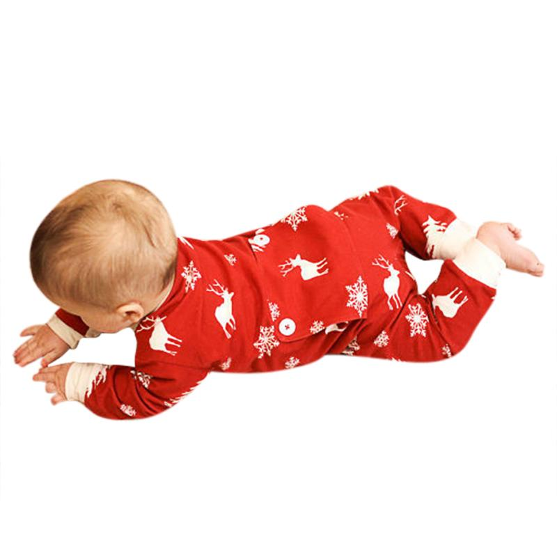Christmas Baby Romper Newborn Boy Girl Long Sleeve Red Snowflake Deer Print Jumpsuit Infant Kids X-mas Clothes baby clothing summer infant newborn baby romper short sleeve girl boys jumpsuit new born baby clothes