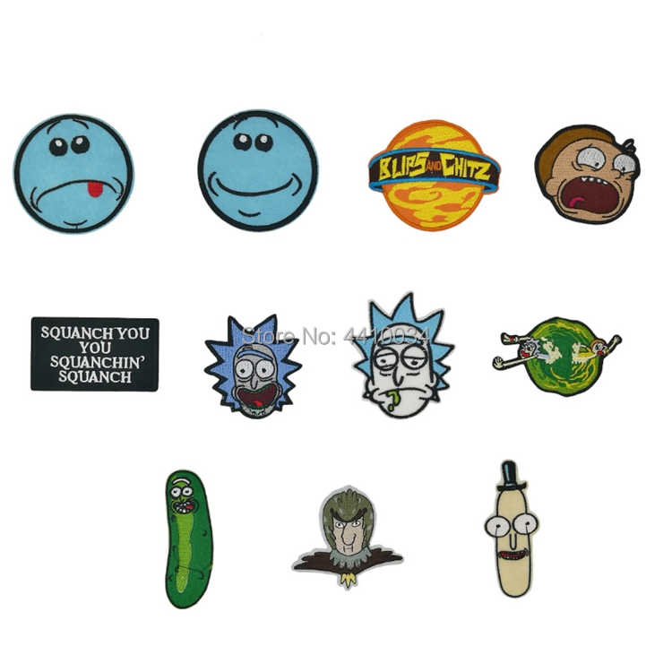 Rick and Morty Pickle character Embroidered Patches TV Series Movie Japanese Anime Iron On badge Movie halloween cosplay costume