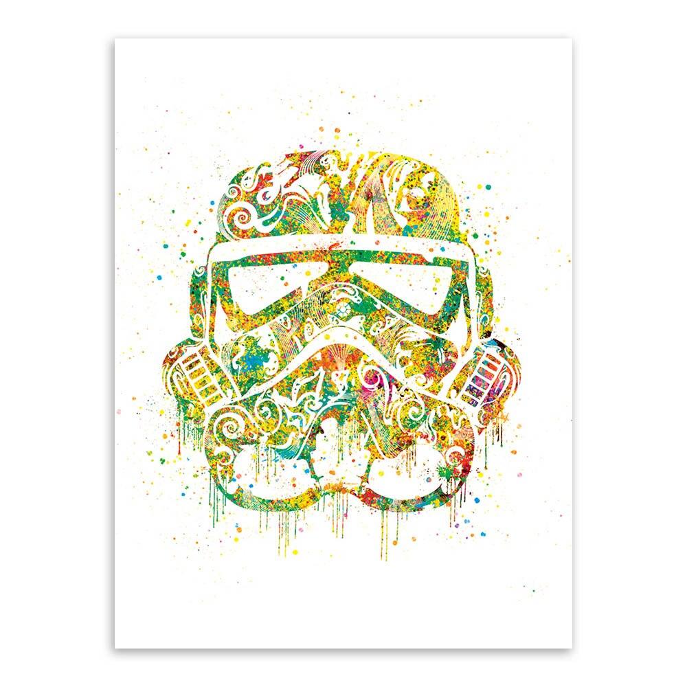 Modern Watercolor Darth Vader Mask Pop Star Movie Poster Kids Boy ...