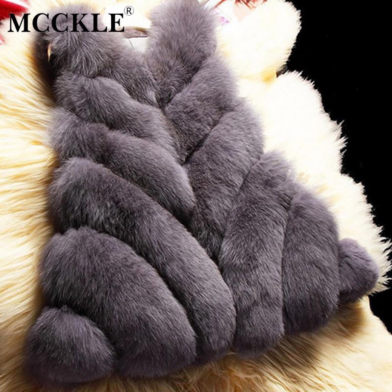 MCCKLE WOMEN Store MCCKLE 2017 New Style Women Faux Fur Vest Coat Female High Quality Winter Plus Size Fur Coats Jackets Winter Fur Gilet Outerwear