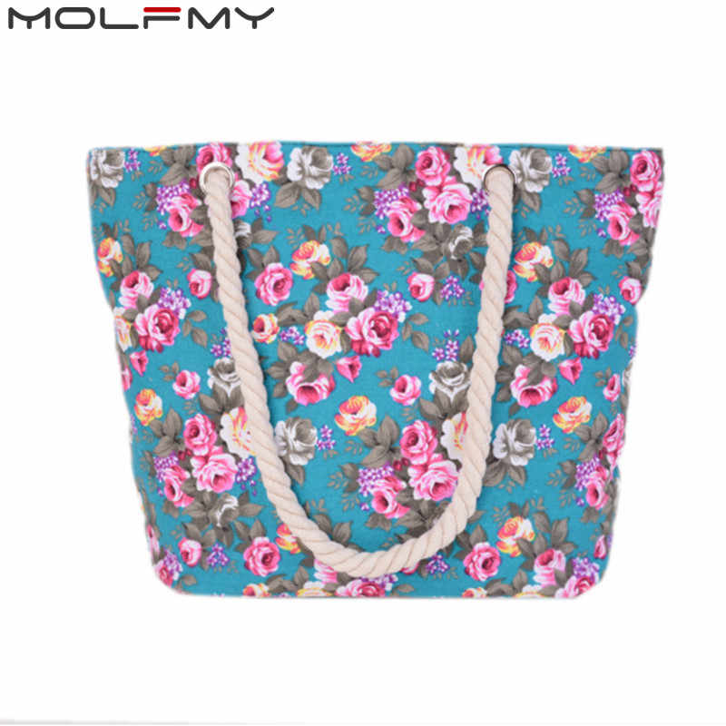 New Floral Printing Bag Women Handbags Canvas Lady Shoulder Bags Large Tote Lady Fashion Bag Brand 2018 Woman Beach Handbag