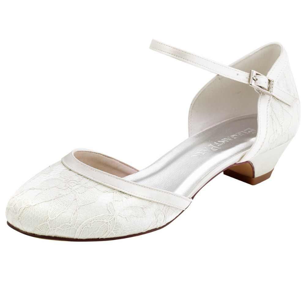 HC1620 Women Shoes Low heel Wedding Bridal shoes White Ivory Buckle Lace Lady  Bride bridesmaids Evening 7b704de206b2