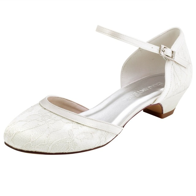 Beroemd HC1620 Vrouwen Schoenen Lage hak Bruiloft Bruids schoenen Wit @JK84
