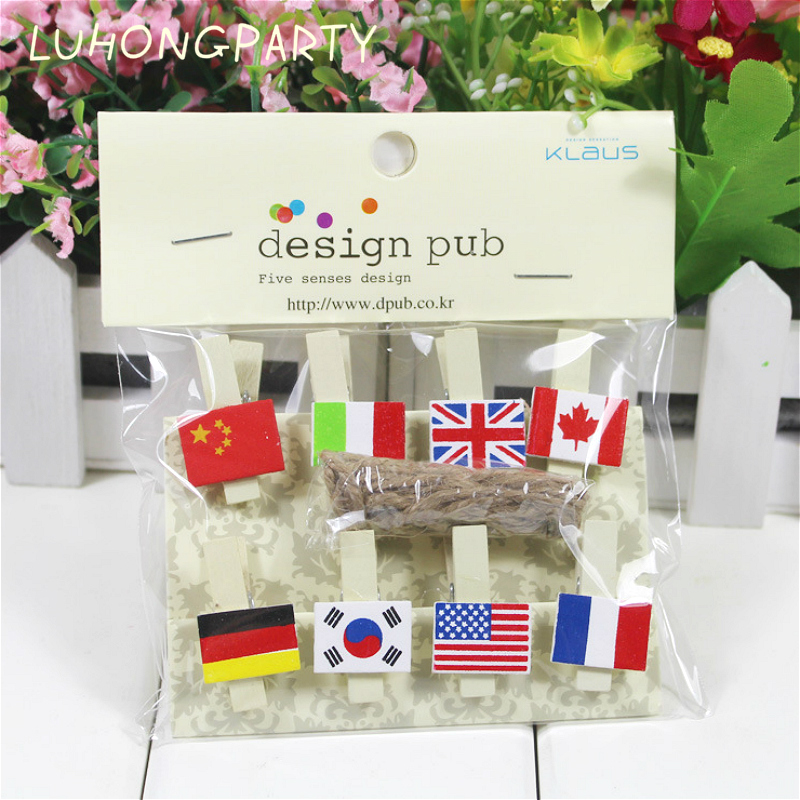 8PCS Flags Wooden Clothespin Office Supplies Photo Craft Clips DIY Clothes Paper Peg Party Decoration