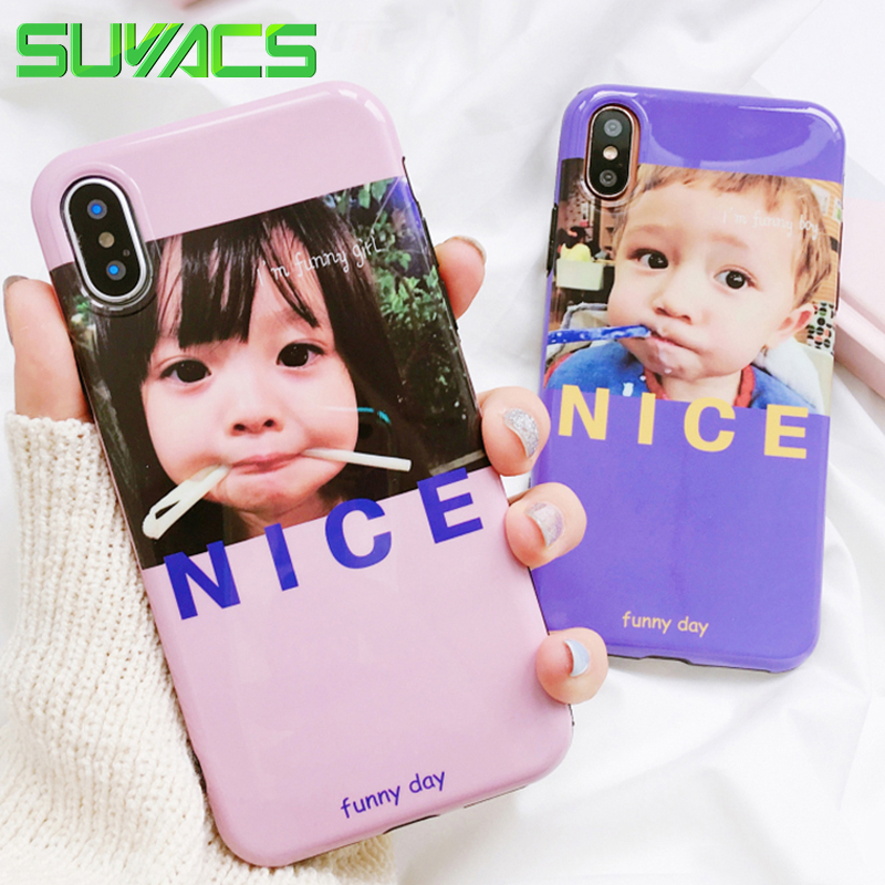 SUYACS Glossy Blu-Ray Phone Case For iPhone 6 6S 7 8 Plus X Lovely Girl & Boy NICE Soft Silicon IMD Cases Cover Fundas Shells