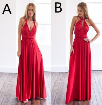 Red Two Styles Satin Bridesmaid Gown Navy Blue/Peach/Ivory/Champagne/Silver/Pink Backless Satin Bridesmaid Dresses Fast Shipping