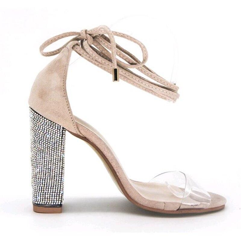 De Zapatos 11 Beige 2019 Super Cuadrados Correa Mujeres Cm Bombas Vendaje Alto Tobillo oro Tacones Dama Tacón negro Sandalias EA6vAq