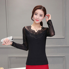 Plus size 2016 New fashion Women's Shirts Lace Crochet Blouse Shirts long sleeve sexy tops Black