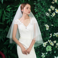 JaneVini Vintage White Two Layers Bridal Veil Lace Cut Edge Elbow Length Veil Short Wedding Veils with Comb Voile Mariage Blanc