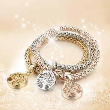 Designer-Austrian-Rhinestones-Gold-Tree-of-Life-Charm-Popcorn-Chain-Bracelet-1