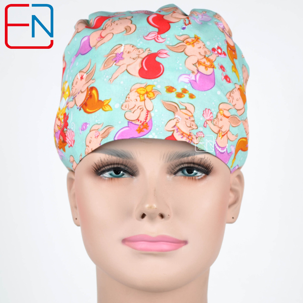 Hennar Surgical Scrub Caps 2018 New Surgical Scrub Caps Medical Uniforms For Women Hospital Medical Hats Dentist Printed Pattern