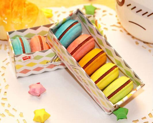 5pcs Kawaii Mini Cakes Shaped Pencil Erasers Cute Novelty Pen Rubber Macaroon Kids Gift School Stationery Ccolor Random