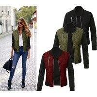 Fashion Women Short Jackets 2017 Autumn Winter Long Sleeve Cotton Padded Coats Female Vintage Punk Outerwears