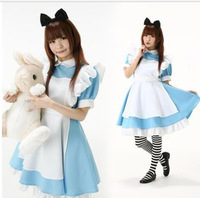 Alice in Wonderland fantasy blue light tone lolita maid outfit maid dress Cosplay Costume