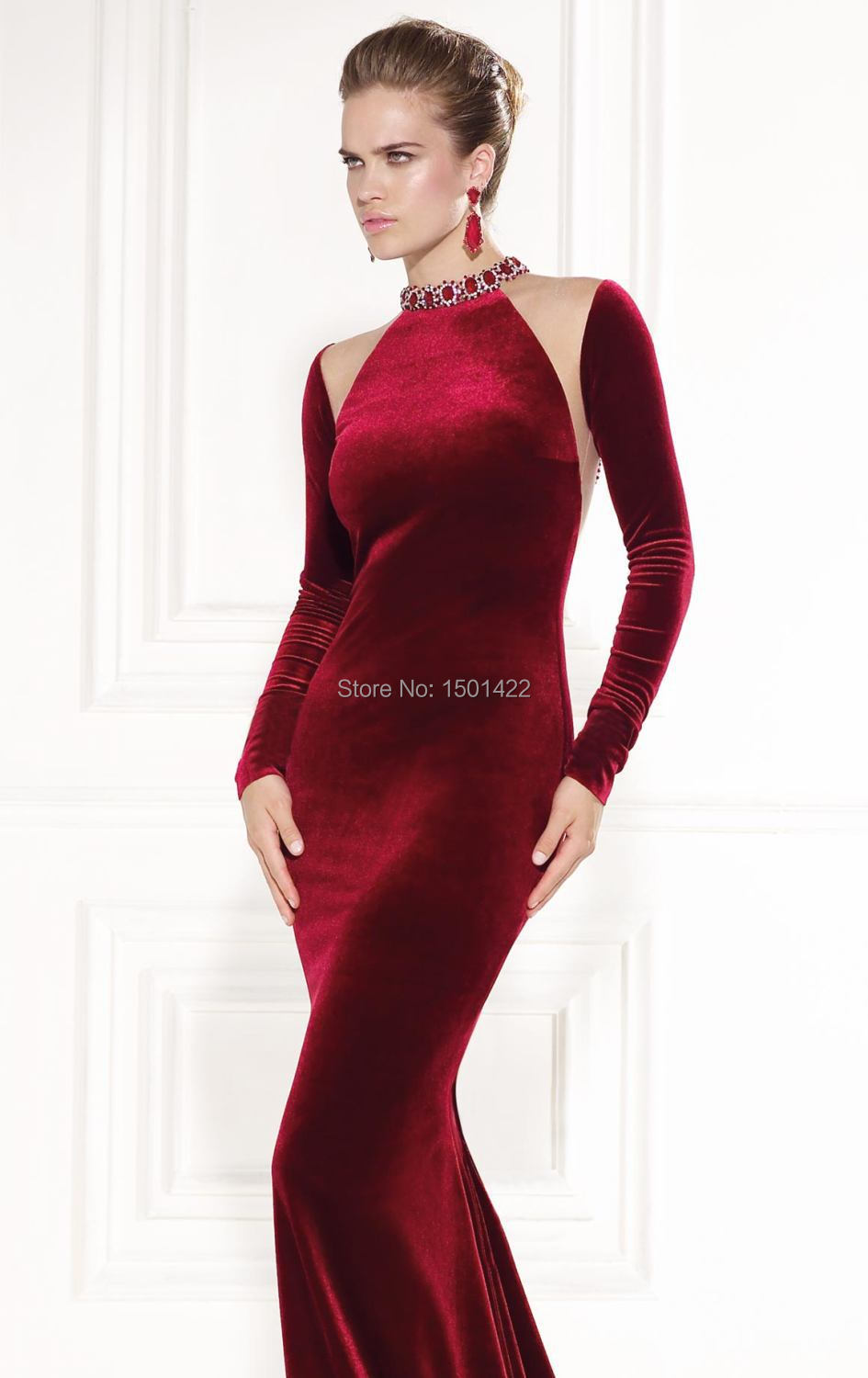 2015 Tarik Ediz Dress Burgundy Evening Gown Sexy Long Sleeve Velvet High  Neck Rhinestone Evening Dresses See Through Back Prom-in Evening Dresses  from ... 296abb5fa77c
