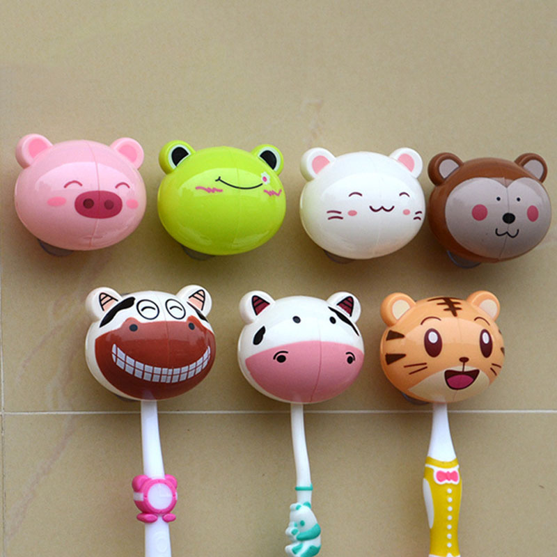 Lovely 3D Cartoon Animal Head Sucker Toothbrush Holder Stand Cup Mount Wall Suction Grip toothbrush rack Bathroom Accessories image