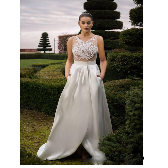 Modest 2016 Plus Size Country Wedding Dress Simple With Pockets