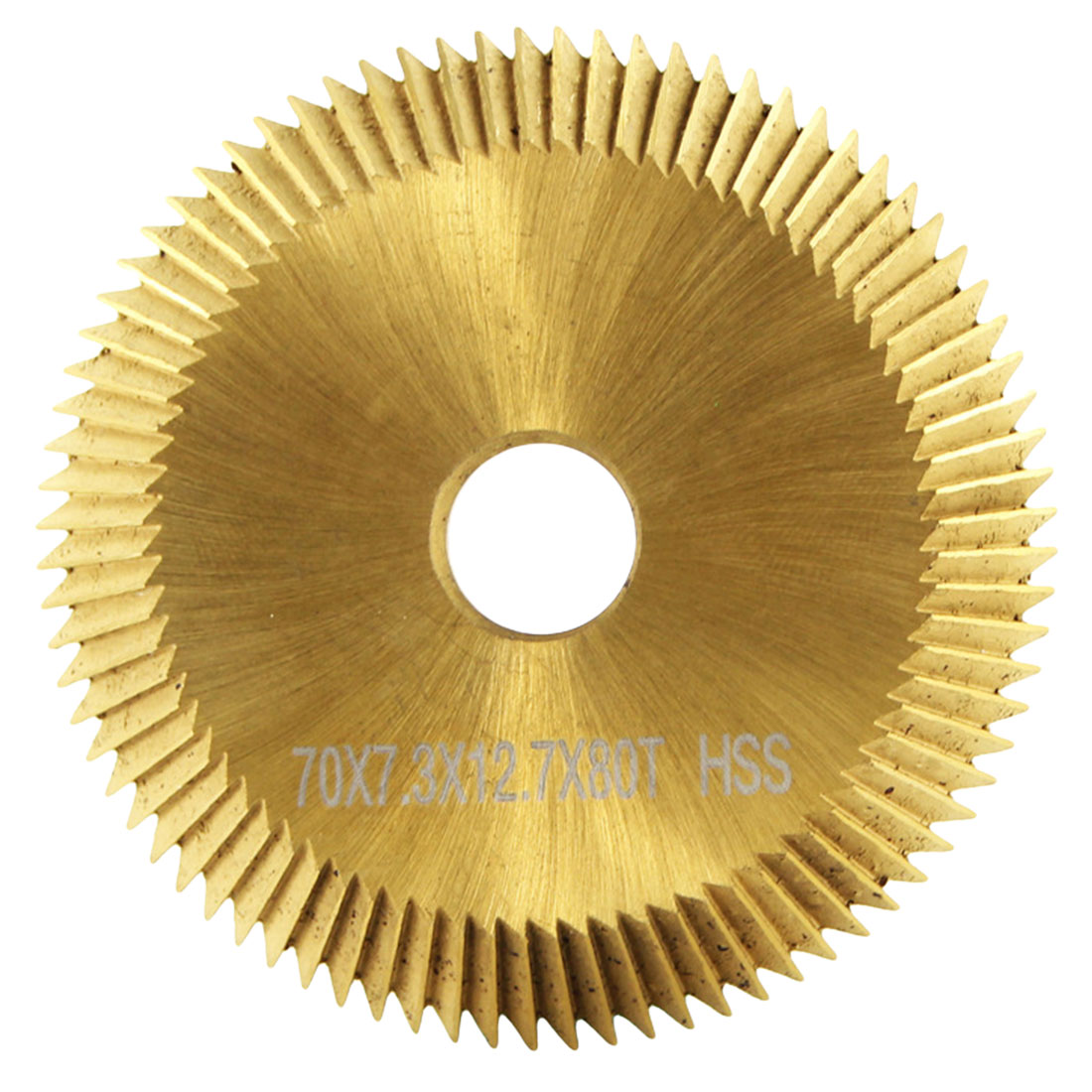 HSS Cutting Saw Blade 80T Double-sided Tooth For Cutting Machine Titanium Plating 12.7mm X 70mm