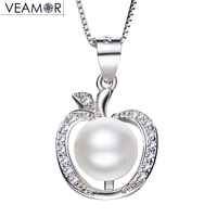Veamor Freshwater Pearls CZ Apple Pendants Necklaces 925 Sterling Silver Chain Fruit Necklace For Women Girls