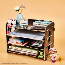 Desktop File Organizer  Holder Office Accessorie Wood Document Creative Letter Tray 4 Layers for School Home Use