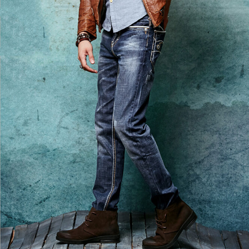 2017 spring models men plus size cotton retro jeans mens slim gray blue blue jeans in the waist without stretch pants 28 to 36