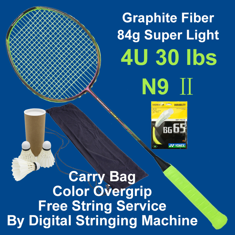 Badminton Racket N92 Professional Carbon Fiber 4U High Quality Super Light Offensive Badminton Racquet String Grip shuttlecock professional offensive full carbon fiber badminton single racket super light 5u racquets with stringing and gift box q1256cmc